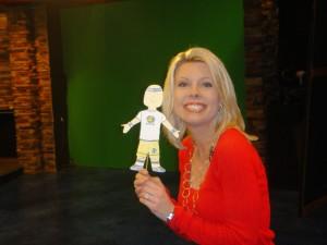 Jennifer Johnson and me do the news.
